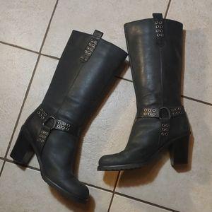 Vegan Leather Heeled Moto Boots